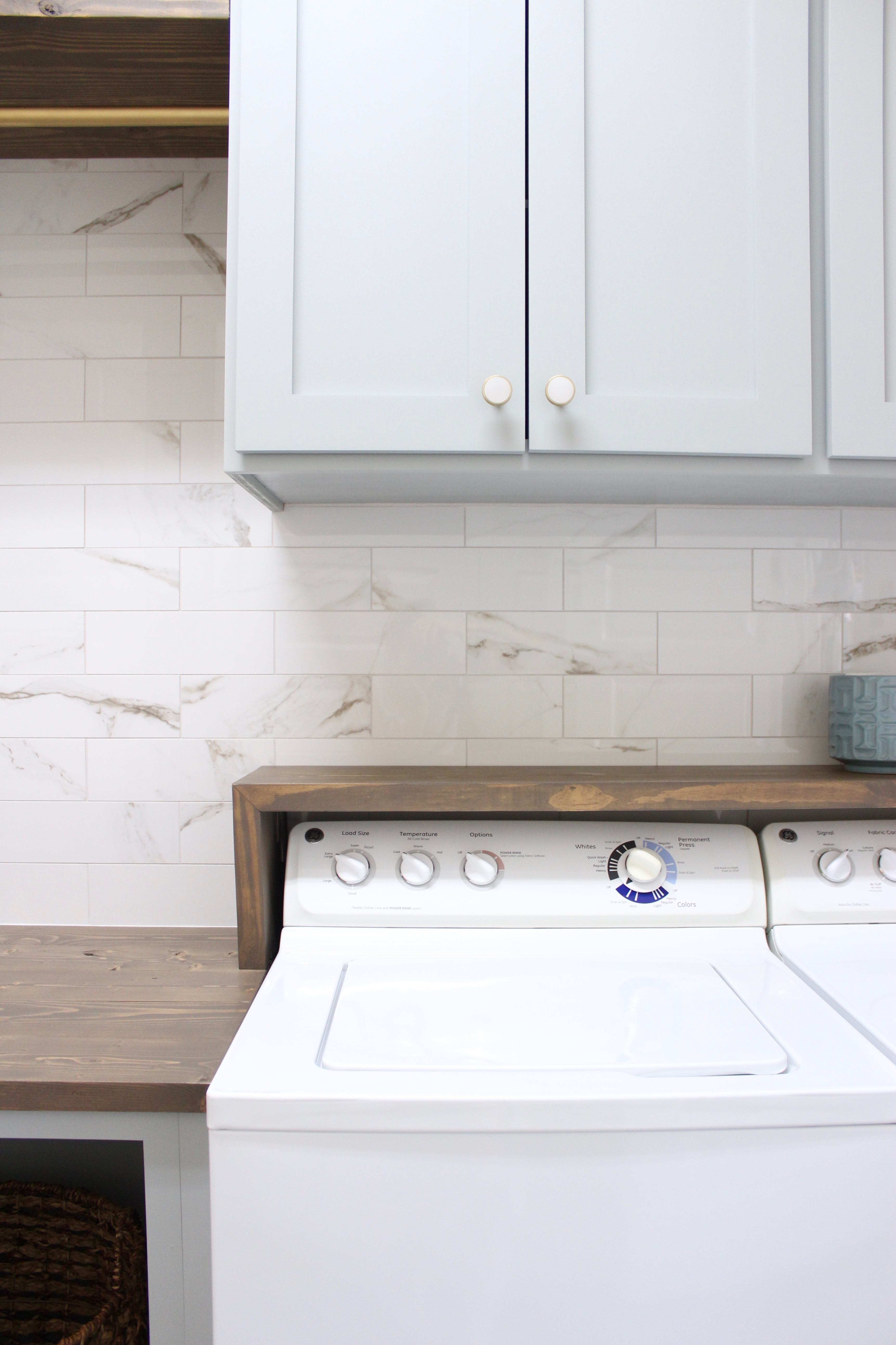 Laundry Room Diy Waterfall Shelf Above Washer Dryer Frills And Drills